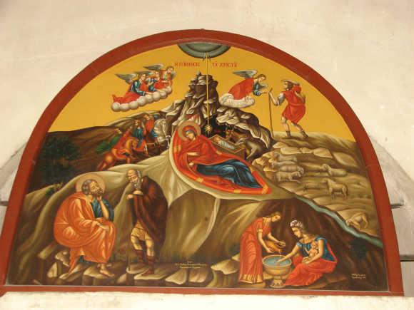 Betlehem-Jezus-szuletese-festmeny-a-szuletes-helye-fole-emelt-templomban