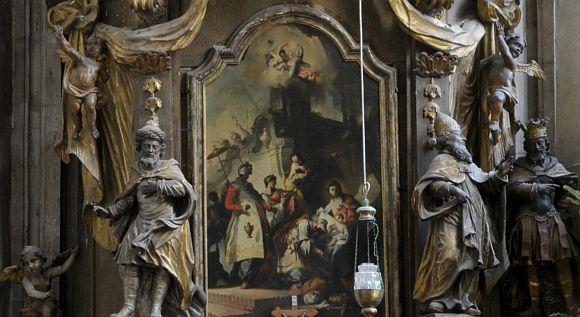 Franz Anton Maulbertsch osztrák festő - Háromkirályok imádása - Szent Mihály-templom jobb oldali mellékoltára.