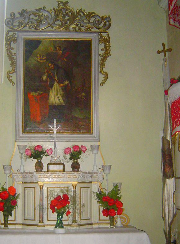 Nepomuki Szent János, a régi mellékoltár a kolozsi római-katolikus templomban.