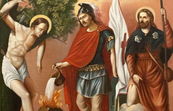 Szent Flórián - festmény a pilisvörösvári római-katolikus kápolnában.