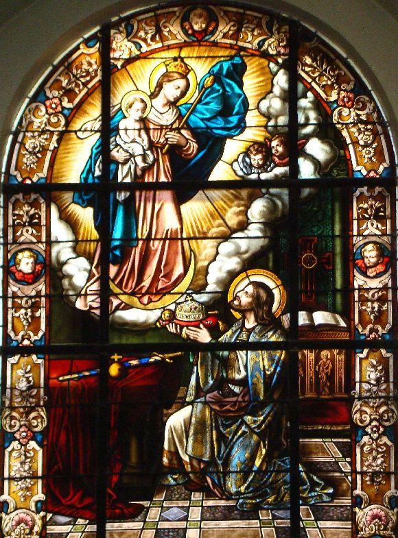 Szent István felajálja Országát és Koronáját a Boldogságos Szűz Máriának - Marosvásárhely - Keresztelő Szent János templom.